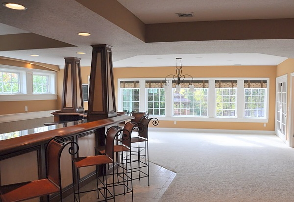 Beautiful basements pictures finest pool table basement for Daylight basement windows
